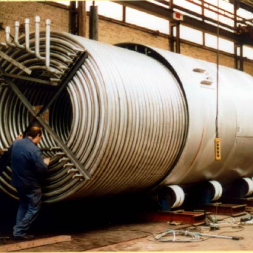 montage van coil, lengte 800 meter buis DN50